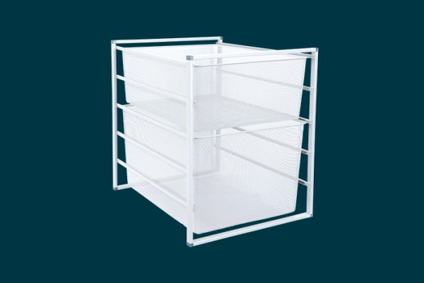 Flexi Storage Home Solutions 5 Runnner Frame White constructed with 435mm Cross Bars and fitted with Mesh Baskets