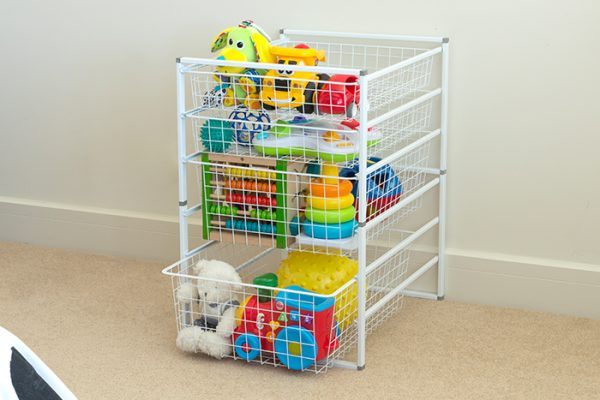 Flexi Storage Home Solutions 6 Runner Kit With Baskets White constructed and used as toy storage
