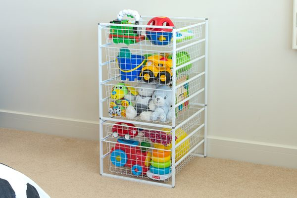 Flexi Storage Home Solutions 8 Runner Kit With Baskets White constructed and used as toy storage