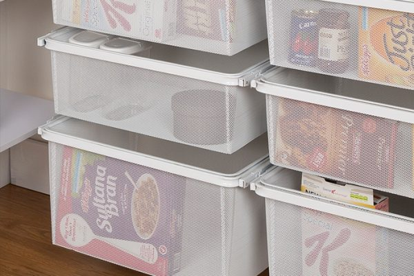 Flexi Storage Home Solutions Full Width Mesh Basket 3 Runner 285mm fitted to Sliding Basket Frame in a pantry