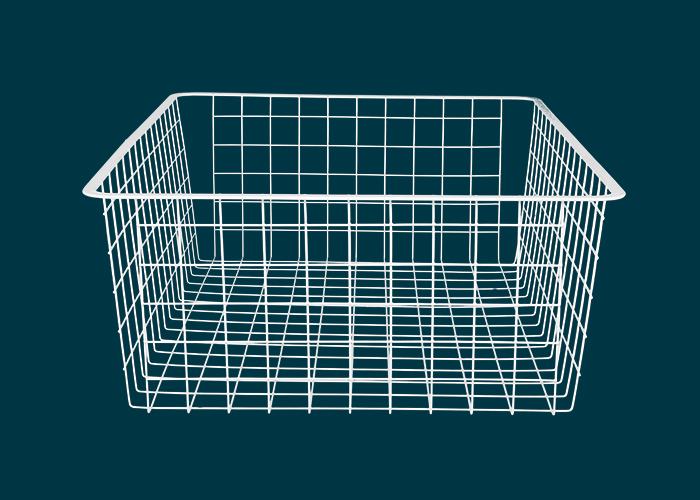 Home Solutions Full Width Wire Basket 2 Runner White 185mm