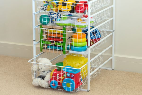 Flexi Storage Home Solutions Full Width Wire Basket 2 Runner 185mm fitted to Home Solutions Runner Frame system in a kids room