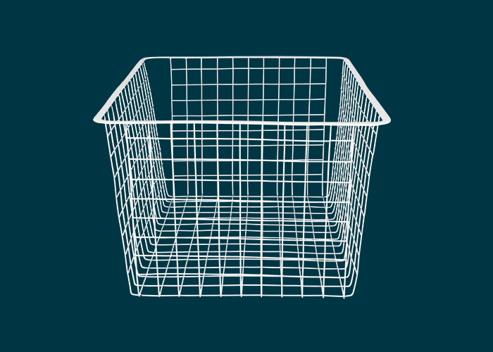 Home Solutions Full Width Wire Basket 3 Runner White 285mm