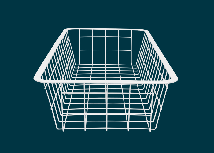 Home Solutions Half Width Wire Basket 1 Runner White 85mm
