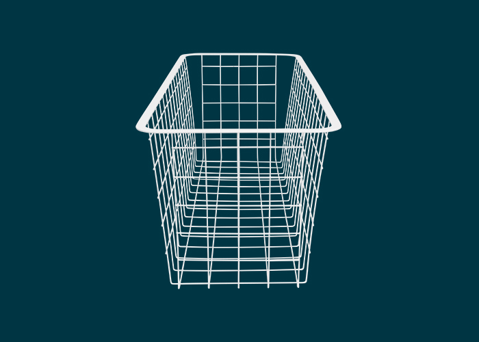 Home Solutions Half Width Wire Basket 2 Runner White 185mm
