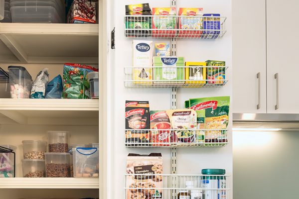 Flexi Storage Home Solutions Medium Shallow Storage Basket White fitted on Double Slot Wall Strip and used for pantry storage