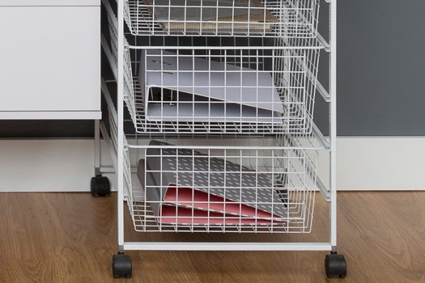 Flexi Storage Home Solutions Runner Frame Castors installed on Runner Frame Kit fitted with Wire Baskets