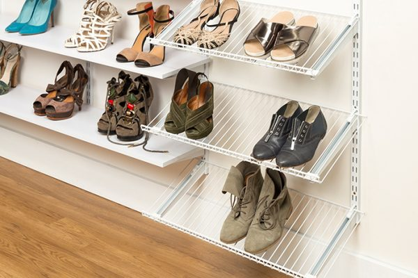 Flexi Storage Home Solutions Shoe Shelf Bracket White 350mm installed in a wardobe setup with Wire Shelves