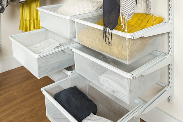 Flexi Storage Home Solutions Sliding Basket Frame White fitted as a series of drawers in a wardrobe setup