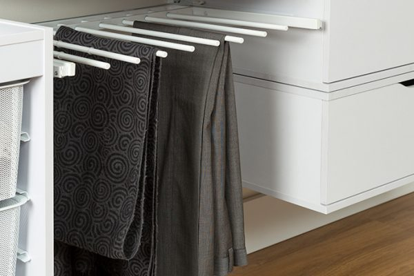 Flexi Storage Home Solutions Sliding Pants Rack White fitted in a wardrobe setup