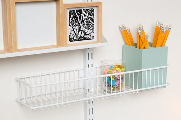 Flexi Storage Home Solutions Small Storage Basket White fitted on Double Slot Wall Strip and used for stationary storage