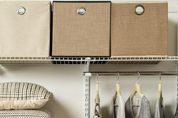 Flexi Storage Home Solutions Wire Shelf Back B 667mm overlapped on A Wire Shelf in wardrobe setup
