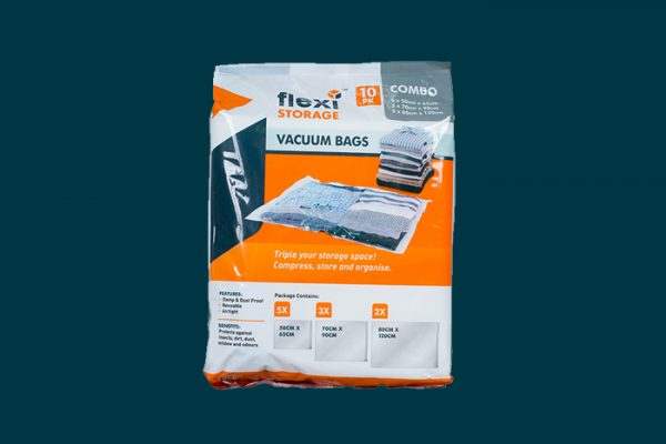 Flexi Storage Vacuum Storage Bag 10 Pack Assorted packaging isolated