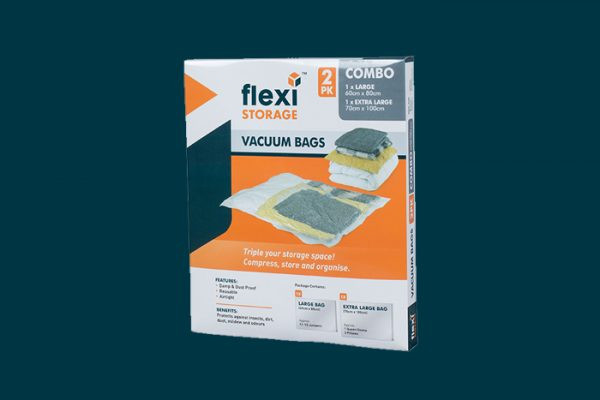 Flexi Storage Vacuum Storage Bag Combo 2 Pack packaging isolated