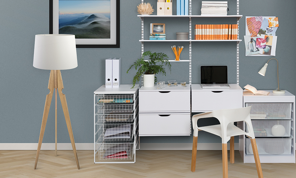 Flexi Storage Home Solutions Runner Frames and Baskets used in home office