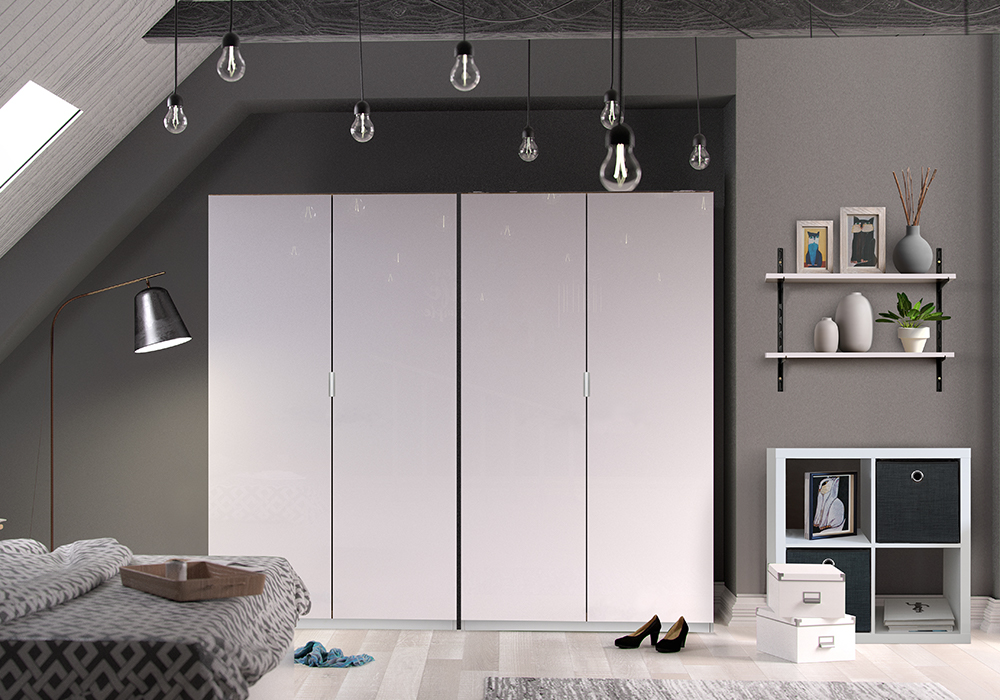 Flexi Storage Wardrobe, Clever Cube and Decorative Shelving installed in bedroom