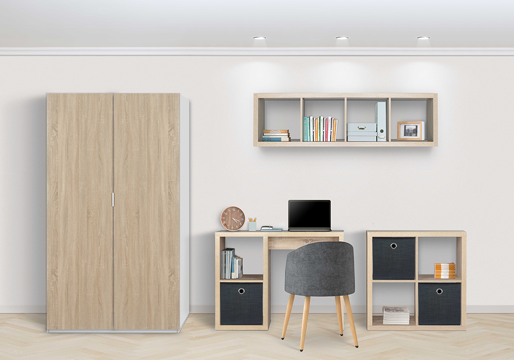 Flexi Storage Hinged Wardrobe and Clever Cubes used in bedroom or home office