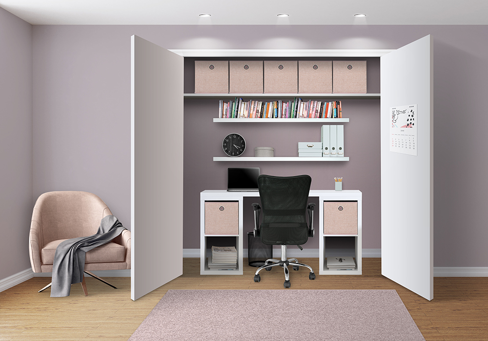 Flexi Storage Clever Cube and Decorative Shelving used to create built-in study