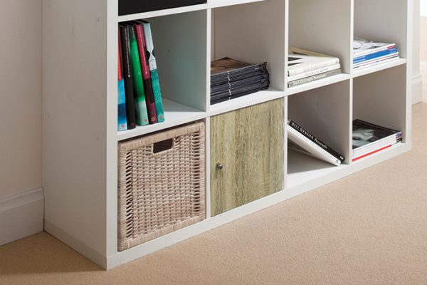 Flexi Storage Clever Cube Timber Insert 1 Door Oak installed in Flexi Storage Clever Cube Unit