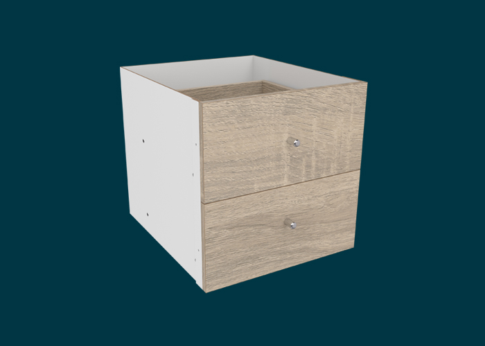 Clever Cube Timber Insert 2 Drawer Oak