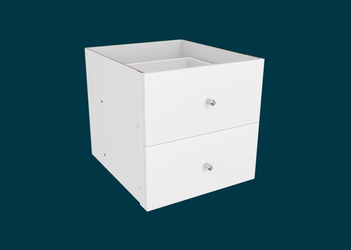 Clever Cube Timber Insert 2 Drawer White High Gloss