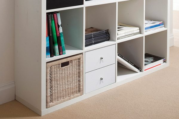 Flexi Storage Clever Cube Timber Insert 2 Drawer White High Gloss installed in Flexi Storage Clever Cube Unit