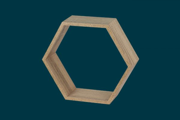 Flexi Storage Decorative Shelving Hexagonal Wall Shelf Oak isolated