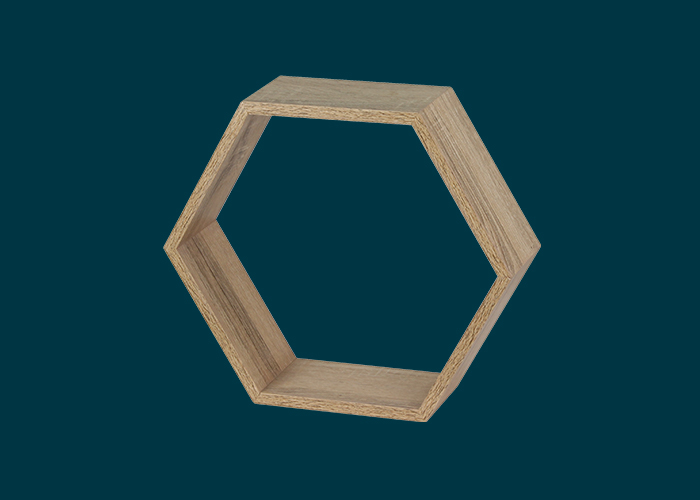 Hexagonal Wall Shelf Oak