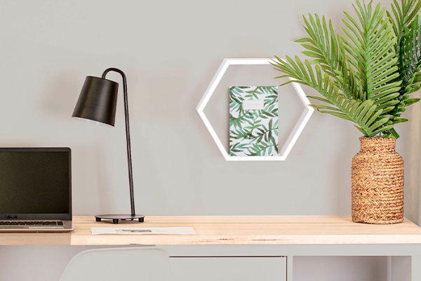 Flexi Storage Decorative Shelving Hexagonal Wall Shelf White Matt installed on wall in office setup
