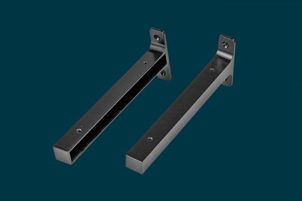 Flexi Storage Decorative Shelving Timber Shelf End Brackets Left and Right 200mm Matt Black isolated