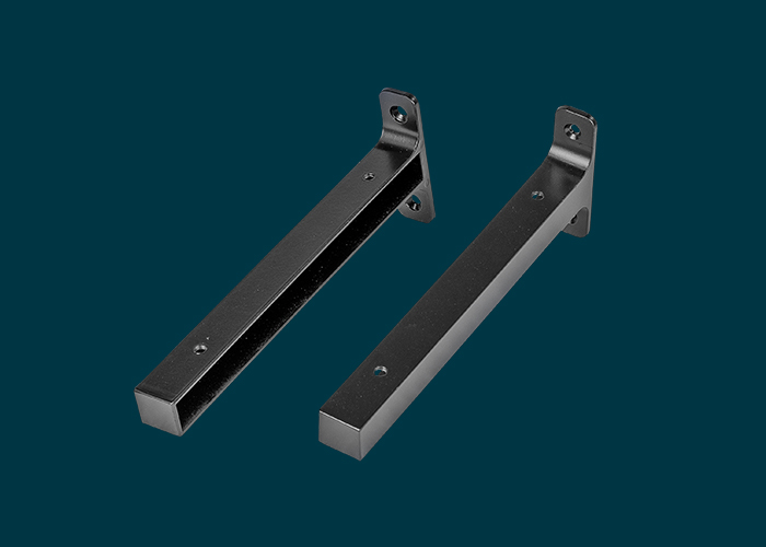 Timber Shelf End Brackets Left & Right 200mm Matt Black