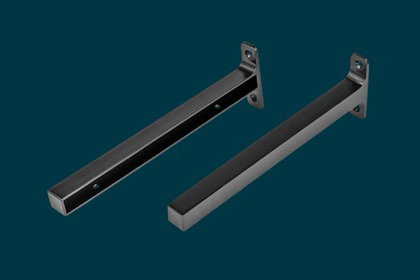 Flexi Storage Decorative Shelving Timber Shelf End Brackets Left and Right 250mm Matt Black isolated