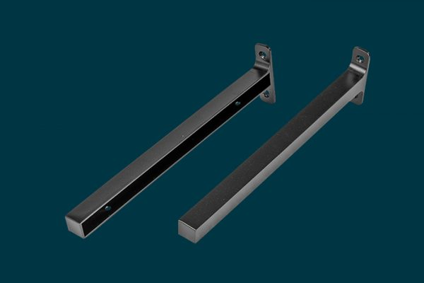 Flexi Storage Decorative Shelving Timber Shelf End Brackets Left and Right 300mm Matt Black isolated