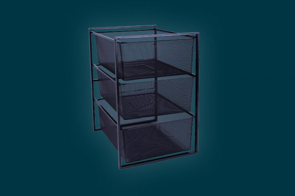 Flexi Storage Home Solutions 3 Mesh Basket and Frame Kit Black isolated