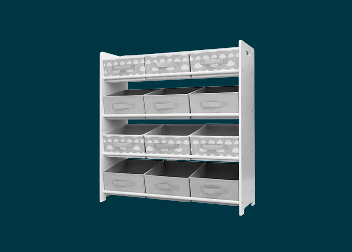 Kids 3×4 White Fabric Storage Unit With 12 Inserts Grey Clouds
