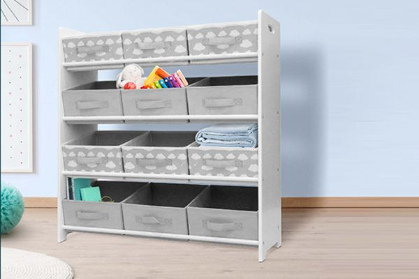 Kids 3x4 White Fabric Storage Unit With 12 Inserts Grey Clouds in a kids room
