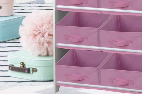 Flexi Storage Kids Fabric Insert Pale Pink paired with the Kids Storage Unit
