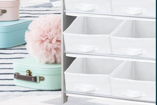 Flexi Storage Kids Fabric Insert Vivid White paired with the Kids Storage Unit