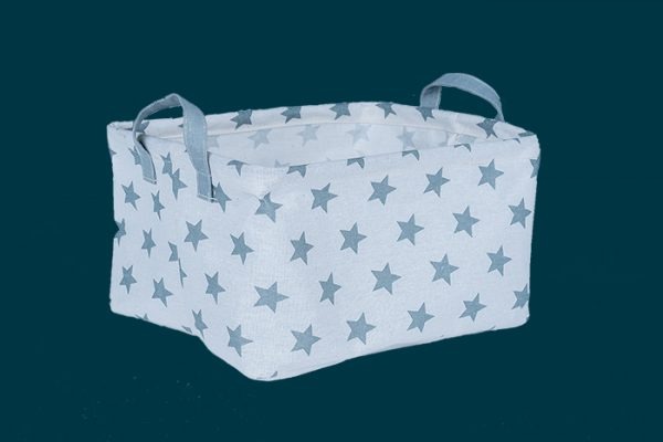 Flexi Storage Kids Large Rectangle Storage Basket Grey Stars isolated