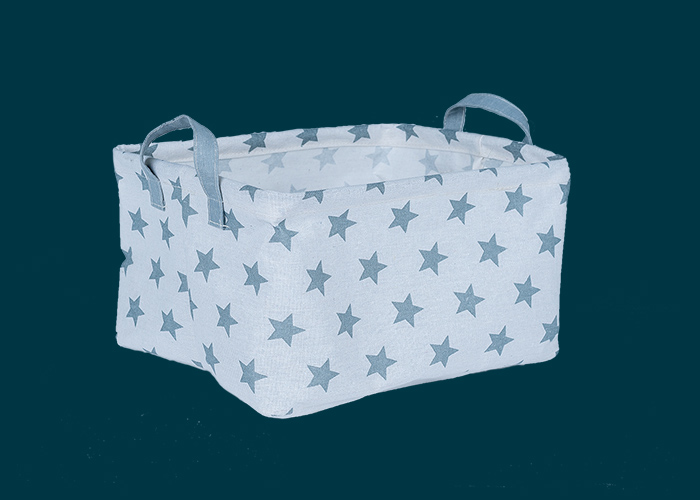 Kids Large Rectangle Storage Basket Grey Stars