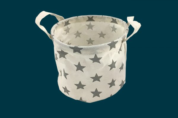 Flexi Storage Kids Round Storage Basket Grey Stars isolated