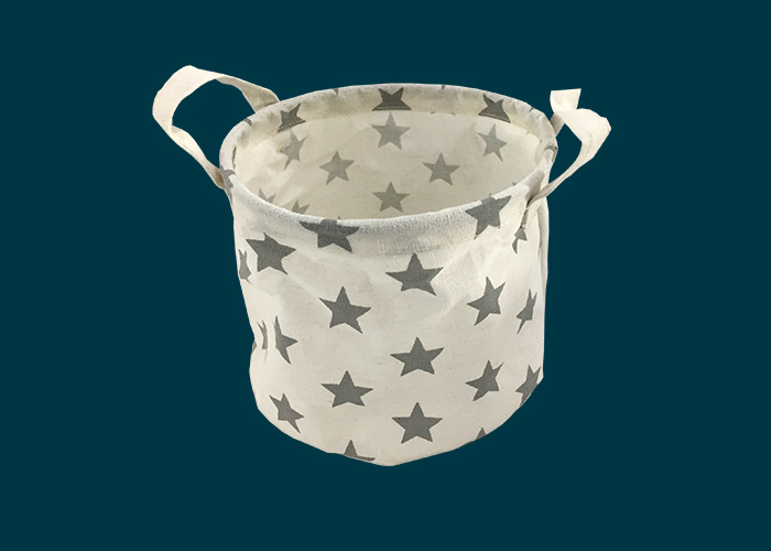 Kids Round Storage Basket Grey Stars