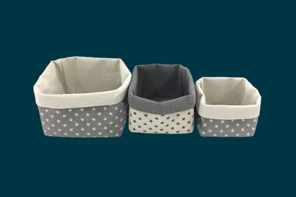 Flexi Storage Kids Set Of 3 Storage Baskets Grey Stars 2 isolated