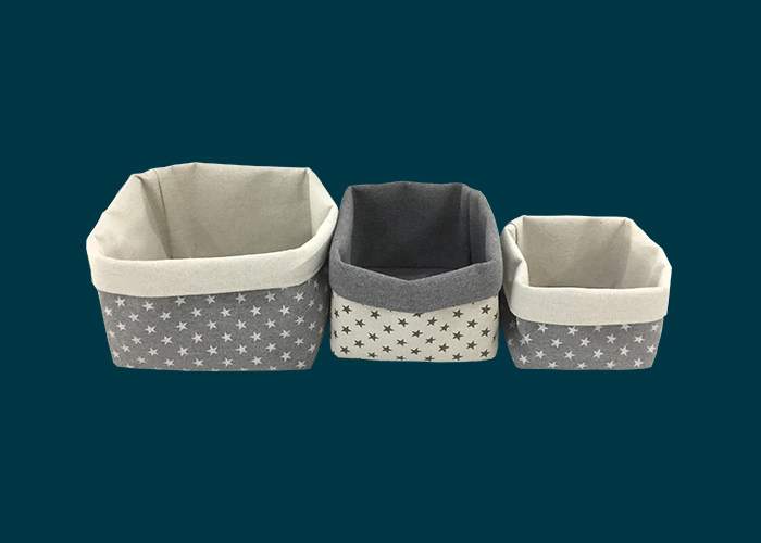 Kids Set of 3 Storage Baskets Grey Stars
