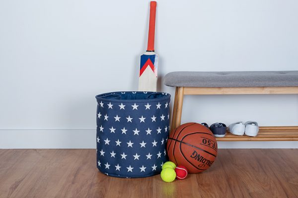 Flexi Storage Kids Toy Storage Basket Navy Stars used to store kids toys in bedroom
