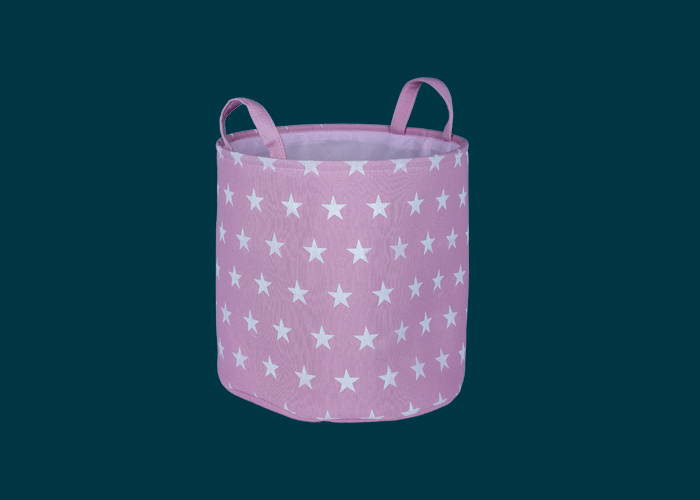 Kids Toy Storage Basket Pink Stars