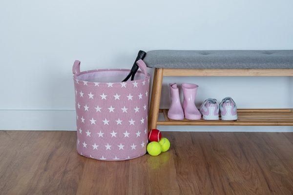 Flexi Storage Kids Toy Storage Basket Pink Stars used to store kids toys in bedroom