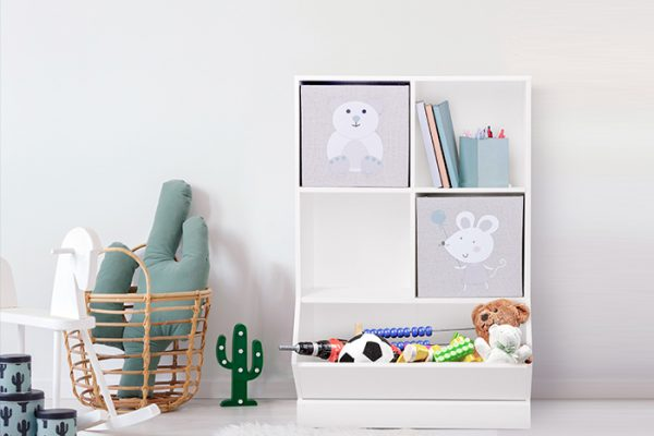 Flexi Storage Kids 2x2 Storage Cube with Toy Bin in a kids room