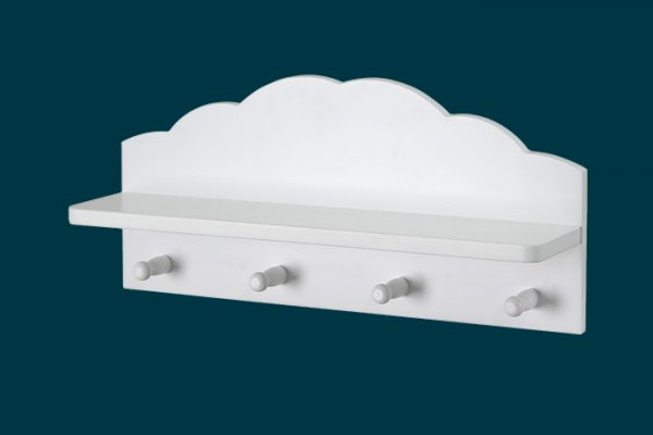 Flexi Storage Kids Cloud Floating Shelf With Hooks White isolated