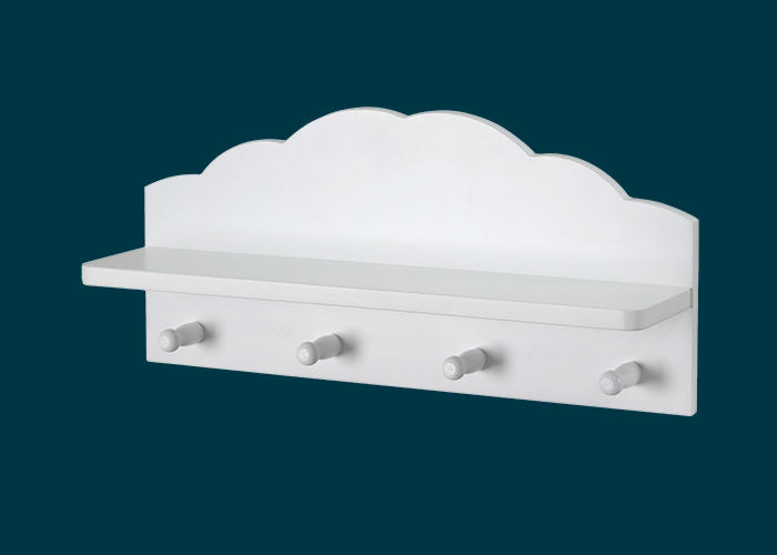 Kids Cloud Floating Shelf With Hooks White